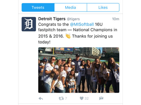 2016 16u Schultz Honored at the Tiger Game