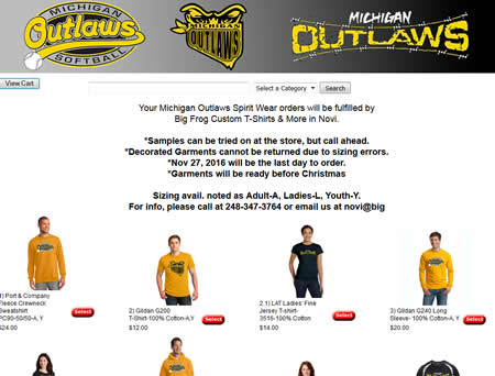 2017 michigan outlaws spiritwear